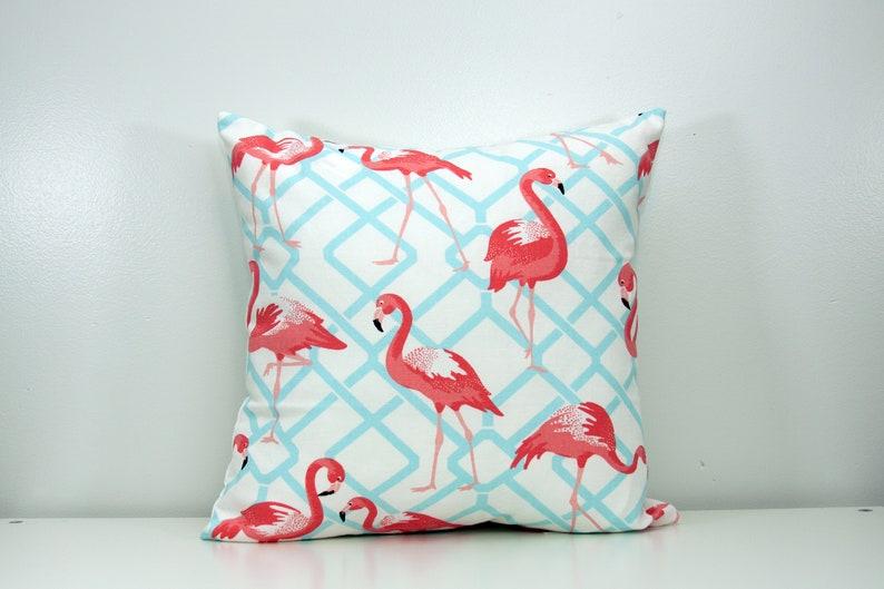 Flamingo Pillow Aquamarine PIllow Pink Flamingo Pillow image 0