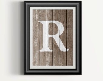 Rustic Home Decor   Wood Letter Art   Faux Wood Print   Gift For Her    Personalized Gift   Letter Wall Art   Rustic Wall Decor   Digital Art