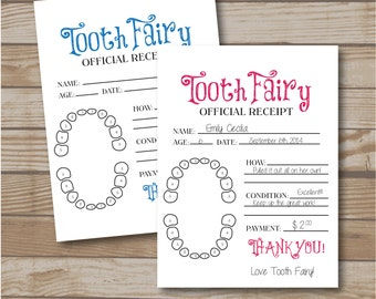 tooth fairy receipt for boys and girls tooth fairy note printable tooth fairy report lost tooth records instant download