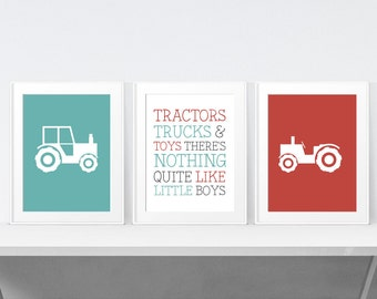 Boys Room Decor - Nursery Decor - Boys Truck Decor -  Baby Boy Nursery - Farm Nursery - Nursery Wall Art - Playroom Decor - Print Set