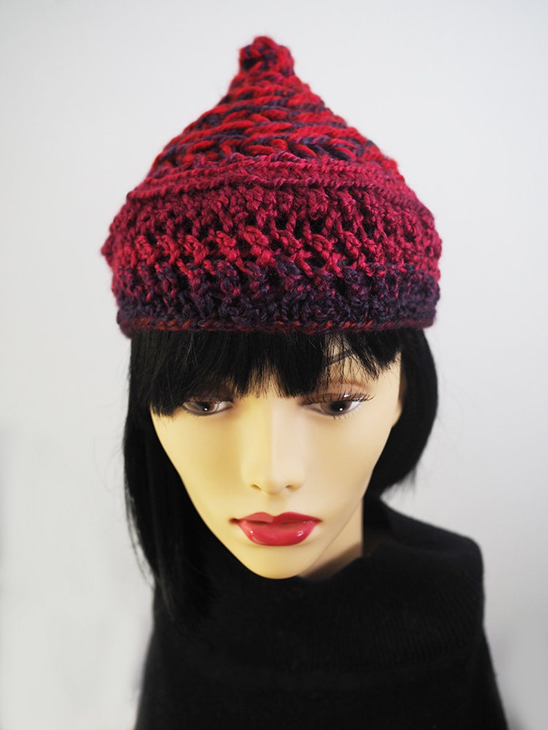 937a5f57a7e SCOUT Red burgundy   purple crochet beanie Ready to ship