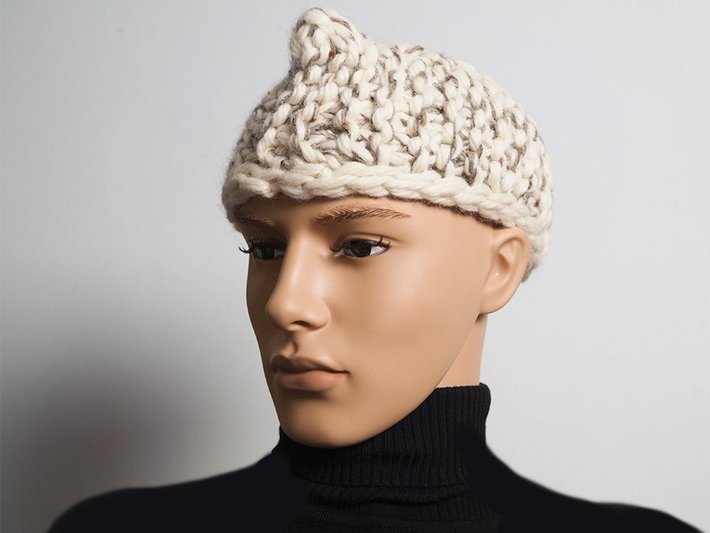 f68cdfce16d ALEX Mens white knit hat Ready to ship Mens OOAK hat Ivory