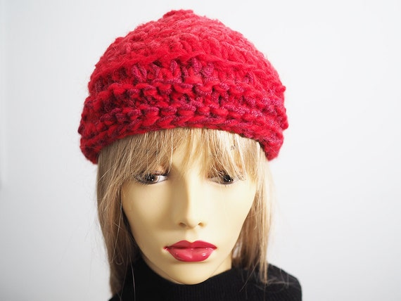 c326b588a15 JEAN Red beanie Chunky knit hat Red toque Ready to Ship