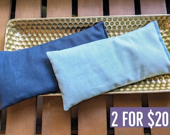 Two Lavender Eye Pillows in Aqua Blue and Navy Blue Warm or Cool Linen Cotton Blend