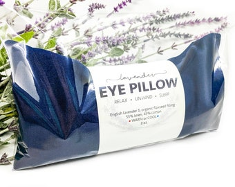 Lavender Eye Pillow Navy Blue Warm or Cool Linen Cotton Blend