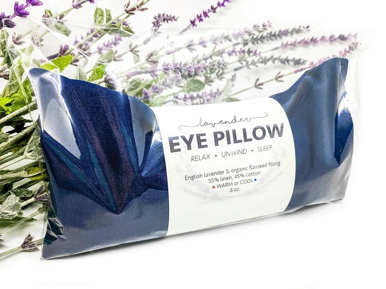 Lavender Eye Pillow Navy Blue Warm or Cool Linen Cotton Blend image 0