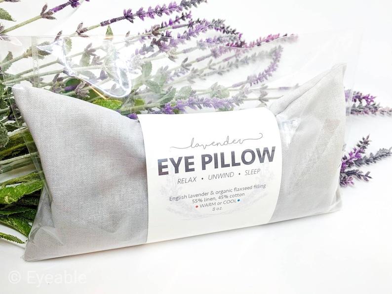 Lavender Eye Pillow Light Gray Warm or Cool Linen Cotton Blend image 0