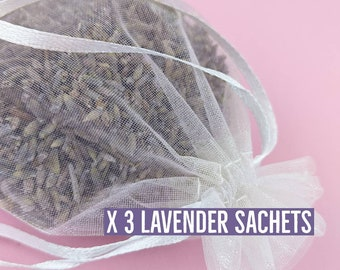 French Lavender Sachets 3 Pack in White Organza Bag 4 x 6 in 10.16 x 15.24 cm