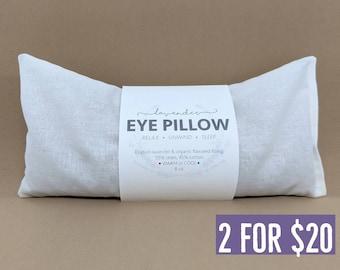 Two Lavender Eye Pillows White Warm or Cool Linen Cotton Blend