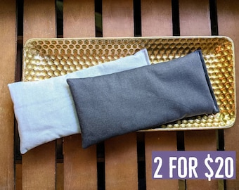 Two Lavender Eye Pillows in Light and Dark Gray Warm or Cool Linen Cotton Blend