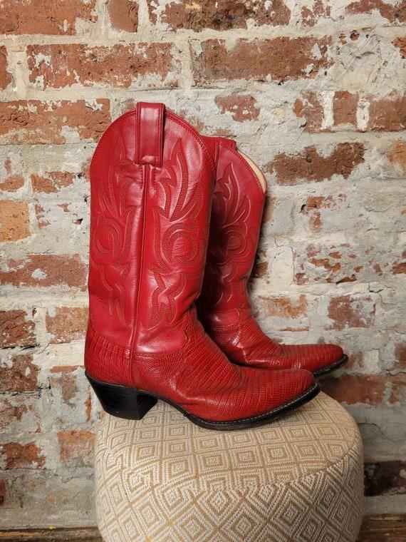 Red Alligator skin Justin cowboy boots