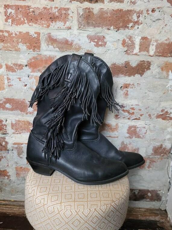 Black fringe cowboy boots