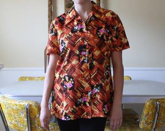 SALE/Price Drop/Vintage Soft Acrylic Button Up Bright Floral/1960's Vintage Shirt