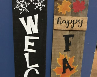 Happy Fall Y'all porch sign, Welcome winter porch sign, Double sided fall and winter porch sign, Snowman welcome sign, Two sided porch sign