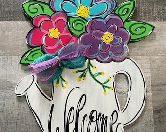 Watering Can door hanger, Welcome door hanger, Spring Decor, Spring flower door hanger, Flower door hanger, wooden door hanger, door decor