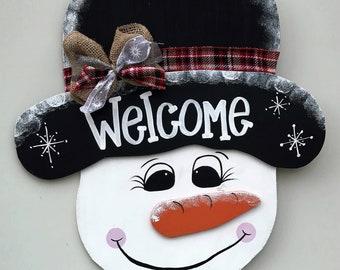 Snowman door hanger, Snowman decor, Christmas Decor, Christmas door hanger, Winter door hanger, wooden door hanger, door decor, Winter decor