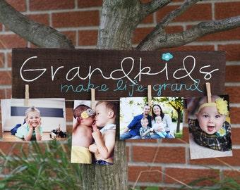 Grandkids Make Life Grand (Picture holder) Wood Sign