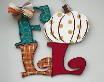 Fall decor, Fall door hanger, Thanksgiving Decor, Pumpkin Decor, Happy Fall Door Hanger, Wood door hanger, Thanksgiving door hanger