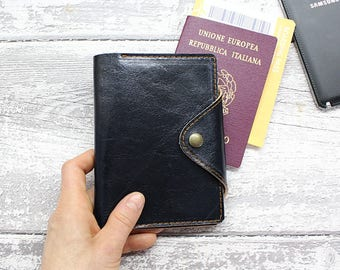 Passport cover, leather passport wallet blue leather, Leather passport holder, Leather Travel Passport, Personalized Wallet.