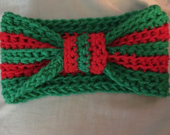 Christmas Colors Knotted Ear Warmer / Women's Headband - 100% Handmade Crochet - Green and Red