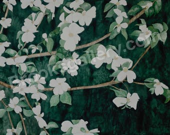 Fine Art Watercolor Painting - Dogwood Day by Bonnie Brooks