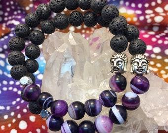 Lava Rock & Frost Purple Agate Gemstone Diffuser Bead Bracelet Yoga Meditation Inspired