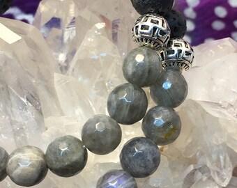 Lava Rock & Labradorite Gemstone Diffuser Bead Bracelet Essential Oil Yoga Meditation Inspired