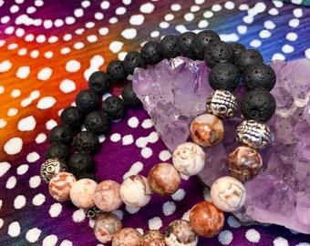 Lava Rock & Mexican Crazy Lace Agate Gemstone Diffuser Bead Bracelet Essential Oil