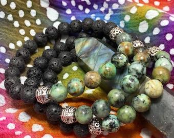 Lava Rock & African Turquoise Gemstone Diffuser Bead Bracelet Essential Oil Yoga Meditation Inspired