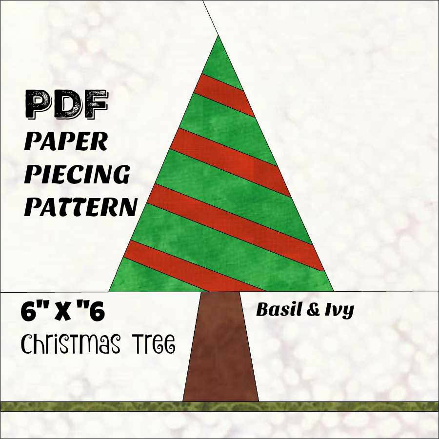 Paper Pieced Christmas Tree Pattern: Christmas Tree PDF Pattern For Paper Piecing. 6 X