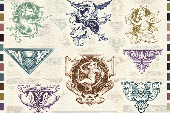 Antique Printable Borders Old Style Tail Pieces Gothic Style Clip Art Victorian Decorative Borders Tp03
