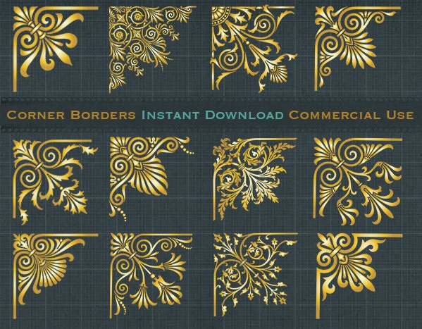 12 Digital Gold Corner Borders Clip Art Golden Ornate