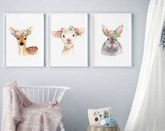 watercolor animal prints, Nursery animal set, Baby Shower Gift, nursery art, nursery wall art, nursery decor, floral nursery decor