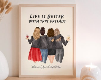 Gift for Friend,Friend Print,Friendship Present,Bestie Tribe Group PRINT AT HOME