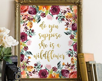 do you suppose she is a wildflower print, printable girls room wall art, floral printable nursery,