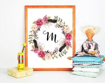 baby name initials wreath monogram nursery name personalized initials baby name baby girl art s monogram Custom nursery b monogram
