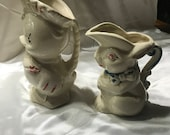 DUCK and BUNNY, Antique, Cold Painted Pottery Pitchers , Adorable!