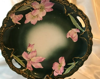 Most, Beautiful, Hand-painted, Double Handle, Pinkish Purple Floral, Dark Green CABINET PLATE