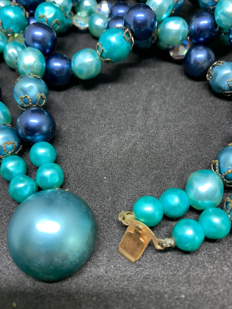 Shades of Blue Vintage 2 Strand Necklace and Clip Earring Set