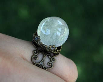White Crystal Ball Ring