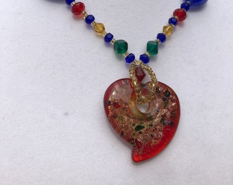 Hand made glass dichroic heart pendant primary colors necklace