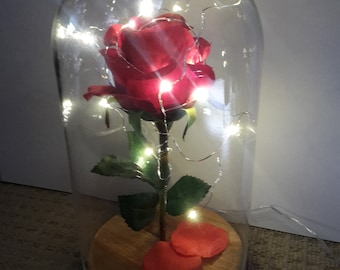 Beauty And The Beast Disney Glass Dome Red Rose Decoration Wooden Base With LED Lights 26cm high VALENTINES WEDDING