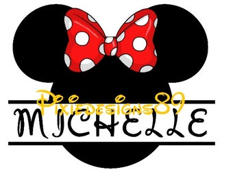 Minnie Head PERSONALISED NAME Cut Out Iron On T-Shirt Transfer