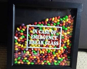 Handmade Box Frame 'In Case Of Emergency Break Glass' Skittles
