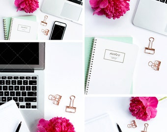 Bright Office Creative Stock Photos for Bloggers   Home Office Styled Stock Photography   Set of 4 Hi-Res Images