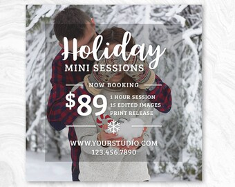Holiday Mini Session Marketing Board - Photoshop template - INSTANT DOWNLOAD - Photographer Marketing - PSD Template - MS04