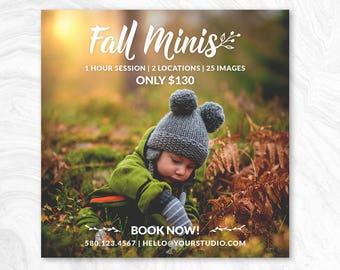 Fall Mini Session Marketing Board - Photoshop template - INSTANT DOWNLOAD - Photographer Marketing - PSD Template - MS04