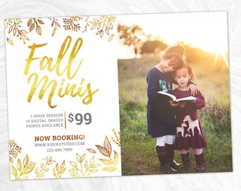 Fall Mini Session Marketing Board - Photoshop template - INSTANT DOWNLOAD - Photographer Marketing - PSD Template - MS05