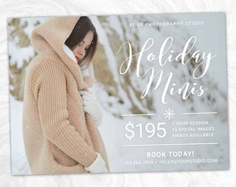 Holiday Mini Session Marketing Board - Christmas Minis Photoshop Template - INSTANT DOWNLOAD - Photographer Marketing - PSD Template - MS15