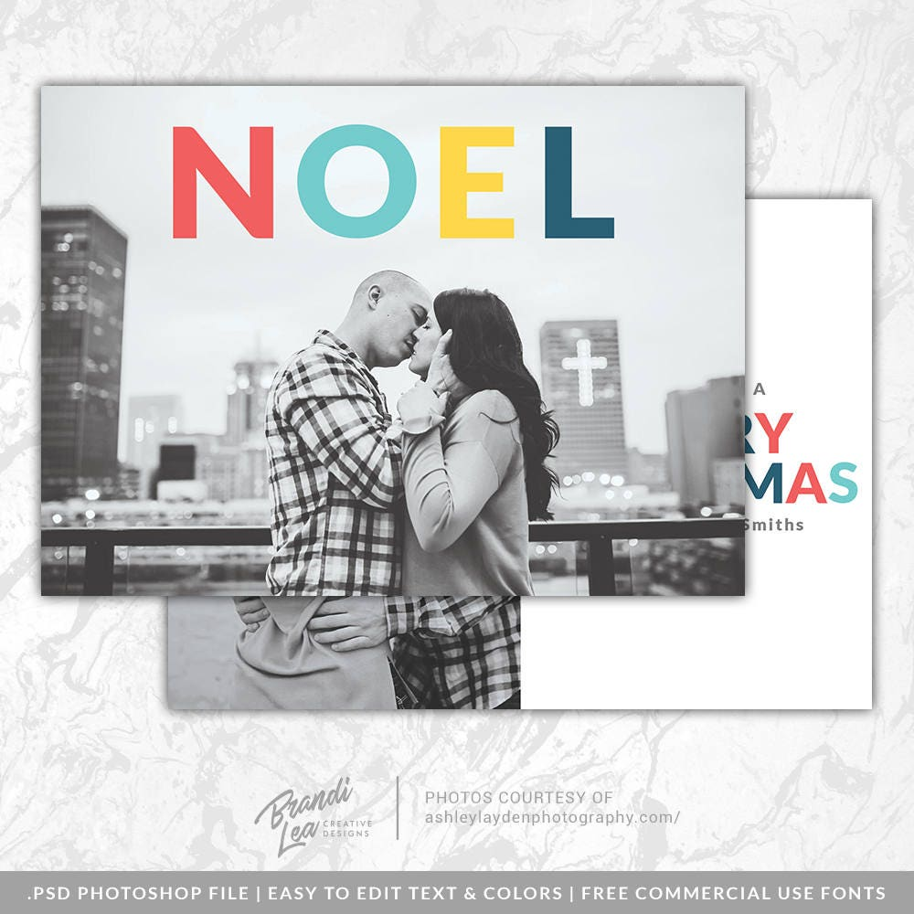 Noel Bold Color Modern Photography Christmas Card Psd Template Etsy